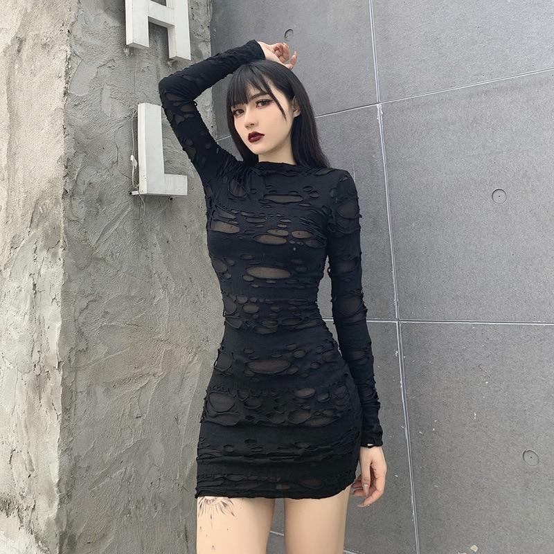 Helisopus New Gothic Black Mini Dress Streetwear Rock Punk Hollow Retro High Waist Long Sleeve Bodycon Party Dresses