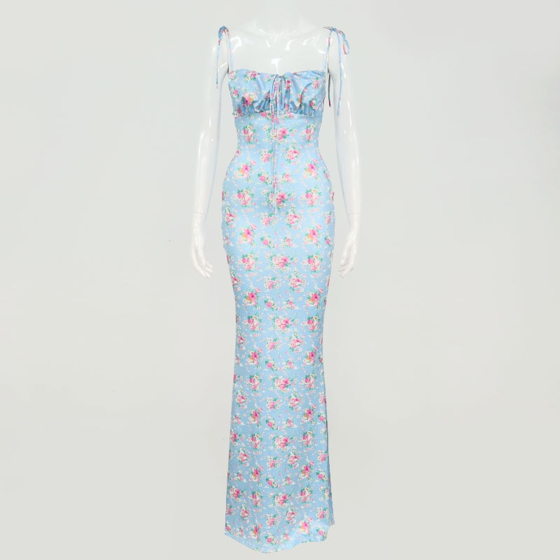 Dresses women Floral Print Elegant Sleeveless Maxi Sundress Sexy Party Club Summer Backless Women Tie Front Dress