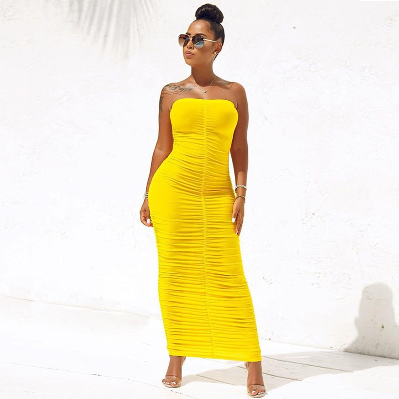 Sexy Backless Ruched Wrap Dress for Women Sleeveless Bodycon Causal Maxi Dresses Plus Size High Waist Solid Package Hip Dress