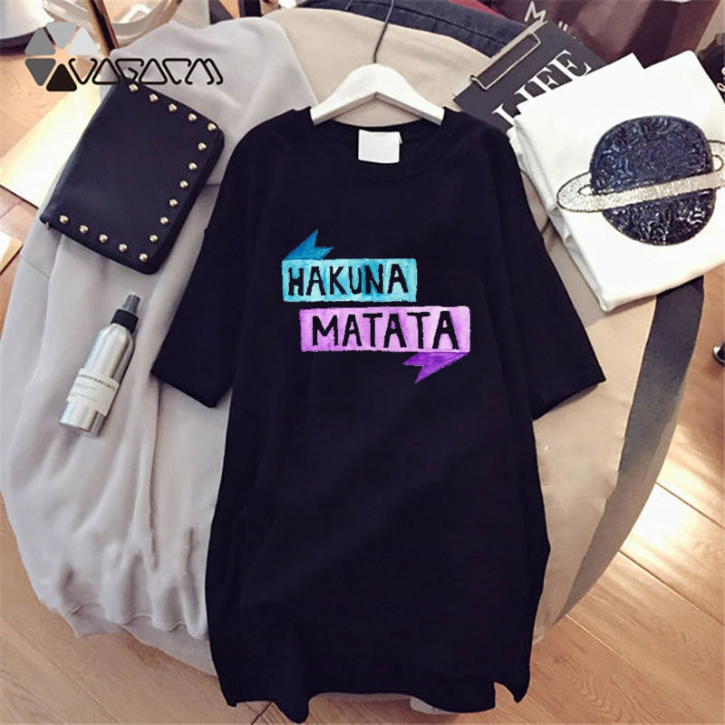 2020 Summer Women Cartoon Simba Hakuna Matata Lion King Print T-shirt Dress Tee Short Sleeve White Plus Size Dress Vestidos Robe