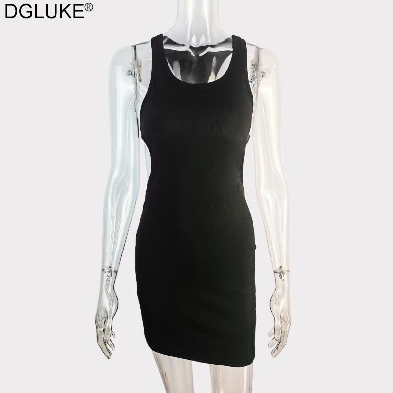 Backless Mini Dress Summer Women Sleeveless Bodycon Dress Sexy Summer Sundress Green White Black Tank Dress