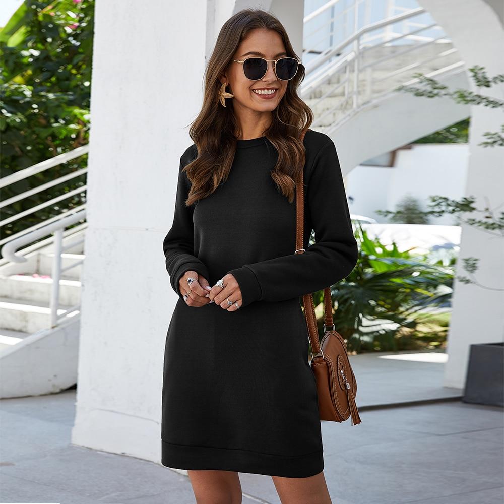 Autumn Winter Mini Dress Casual Solid O Neck Long Sleeve Basic Female Fashion Warm Short Dresses Vestidos Mujer New