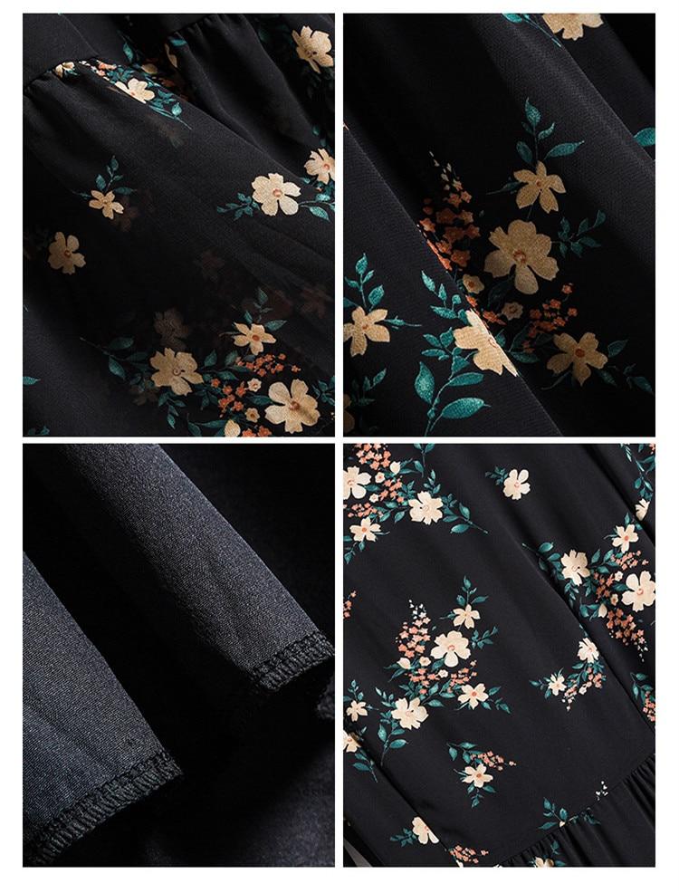 Plus Size Summer Dress 2021 Vintage Black Floral Print Ruffle Chiffon V-Neck Short-Sleeve Slim Long Midi Dress Casual Beach 4XL