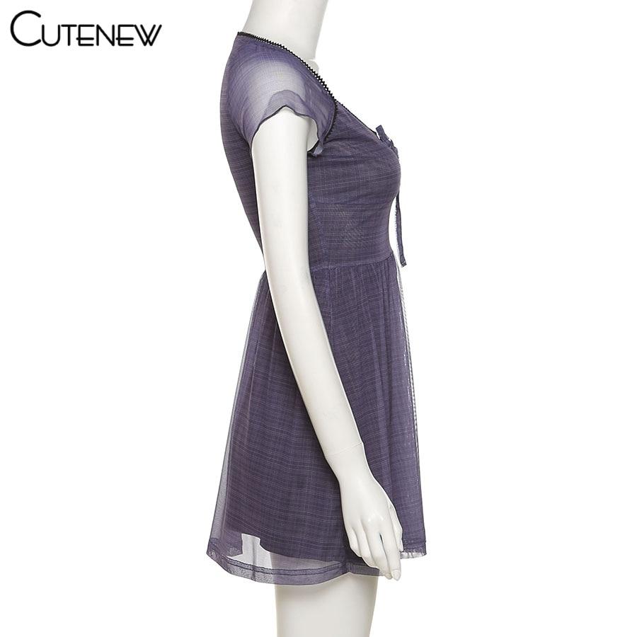 Cutenew Lattice Pattern A-Line Short Sleeve Mini Dress For Womens Clothes 2021 Summer Casual Stretch Comfortable Lady Streetwear