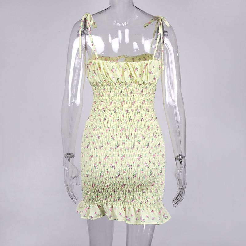 NewAsia White Floral Shirred Mini Dress Summer 2020 Women Ruffles Dress Sexy Spaghetti Straps Pleated Ruched Bodycon Dresses