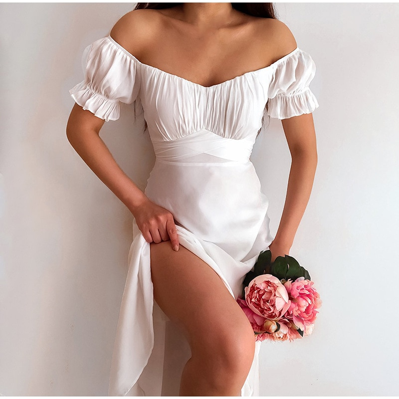 Women's Dress 2021 Summer Sexy Off Shoulder Solid White A-Line High Waist Short Petal Sleeve Elegant Office Lady Dresses Party
