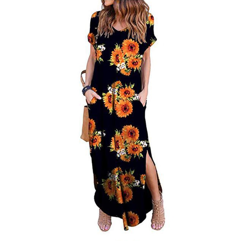 Sexy Women Dress Plus Size 5XL Summer 2020 Casual Short Sleeve Floral Maxi Dress For Women Long Dress Free Shipping Lady Dresses