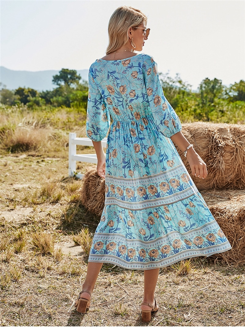 2021 Spring New Bohemia Floral Dress Women Casual V Neck High Waist Half Sleeve Dress For Women Fashion Print Summer Dress
