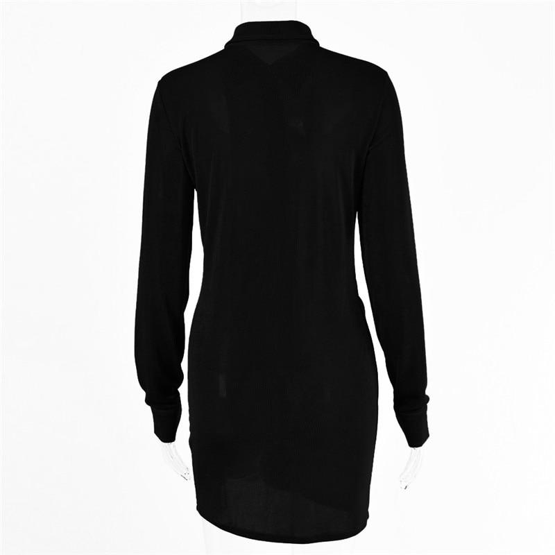 FANTOYE Pleated Turn-Down Collar Button Blouse Dress Women Sexy Long Sleeve Mini Dresses Solid Streetwear Female Shirt Vestidos