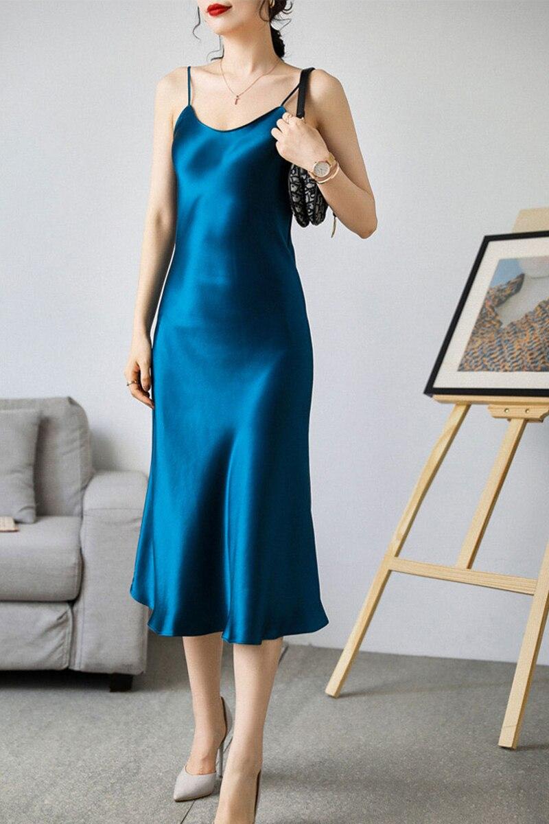 V-neck Sexy Summer Dress Women Elegant 2021 Sleeveless Plus Size Woman Dress Satin Spaghetti Strap Ladies Dresses Vestidos 13115