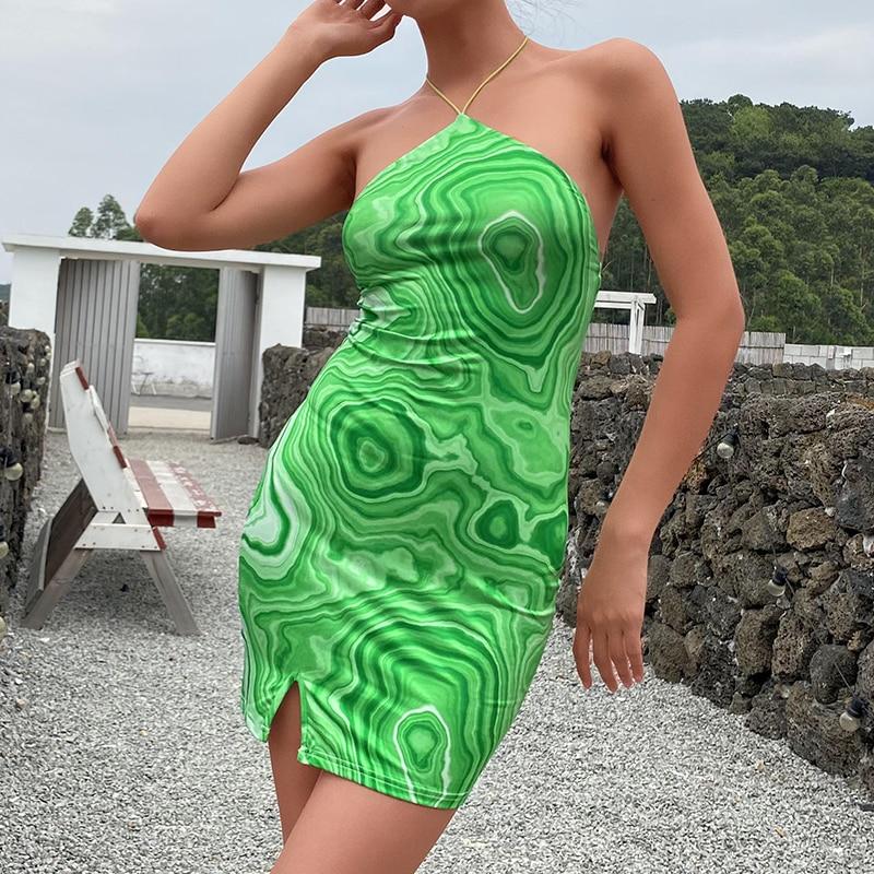 HEYounGIRL Wave Print Sexy Backless Halter Dress Women Party Summer Sleeveless Short Dress Elegant Y2K 90s Fashion Streetwear