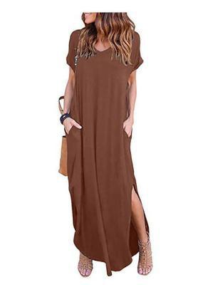 Plus Size 5XL Sexy Women Dress Summer 2020 Solid Casual Short Sleeve Maxi Dress For Women Long Dress Free Shipping Lady Dresses
