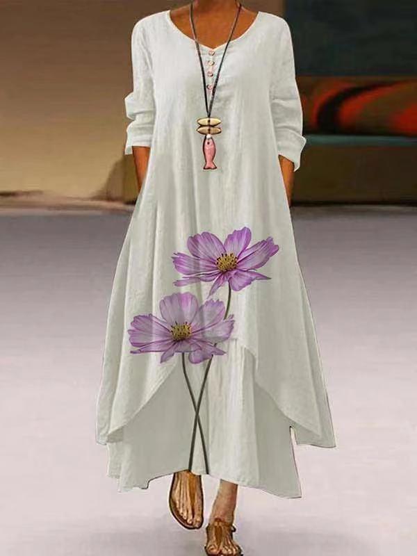 MOVOKAKA 2021 Floral Print Maxi Dress Women Vintage Long Sleeve Elegant Long Dress O Neck Casual Plus Size Dresses Woman Party