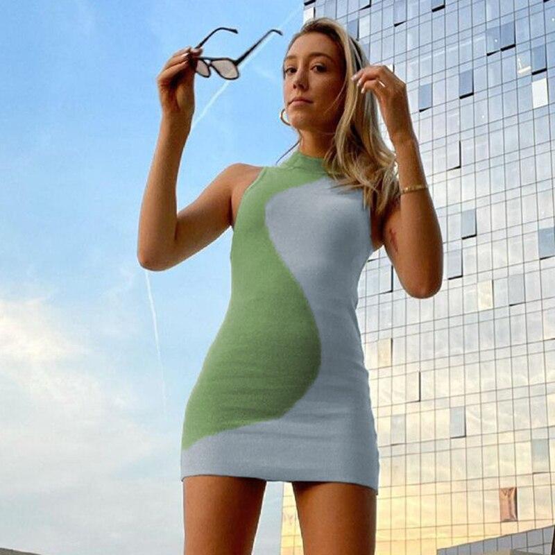 Female Beach Knitted Bodycon Dress Chic Women Elegant Lady Backless Sleeveless Bandage Halter Sundress Summer Vacation Clothing