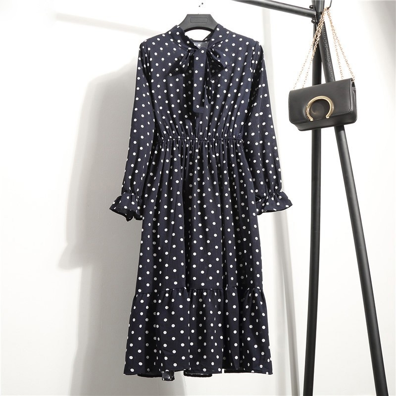 Summer Ladies Dress Long Sleeve Bohemian Style Pullover Casual Beach Dress Floral Polka Dot Over The Knee Pleated Midi Dress