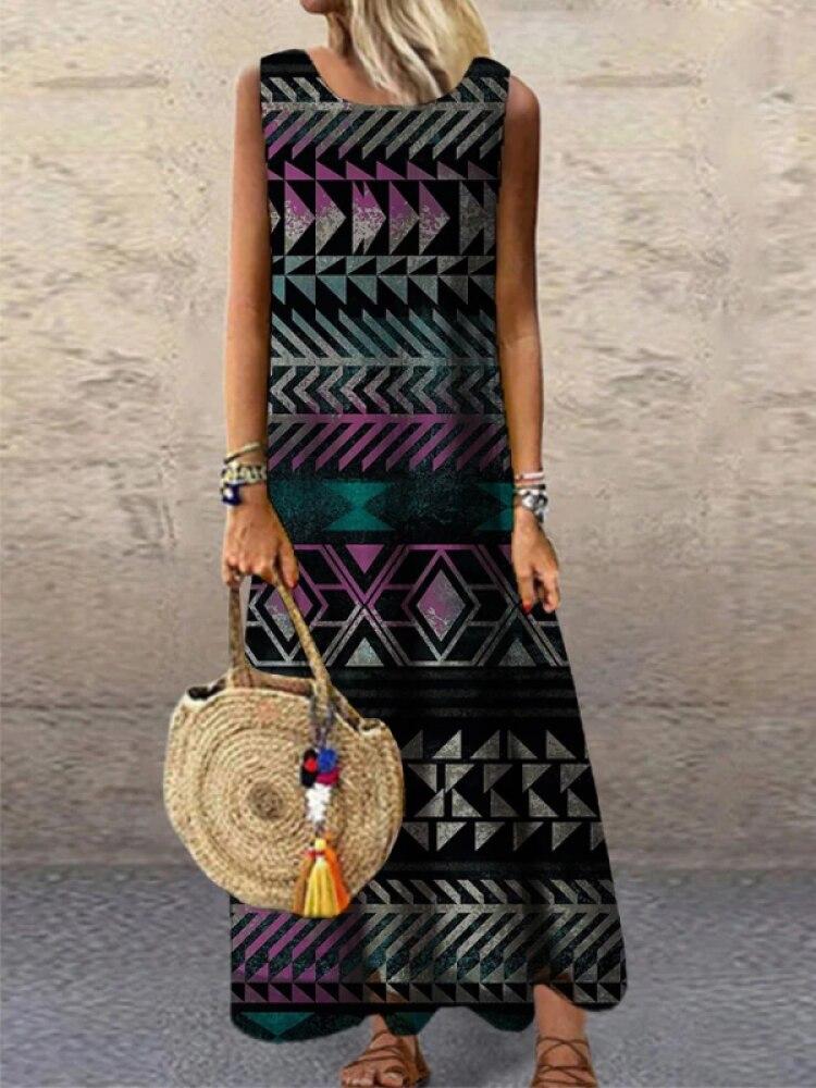2021 Women Trending Long Dress Summer Ladies Sleeveless Maxi Robes Crewneck Loose 3D Print Casual Vestidos Female Beach Wear
