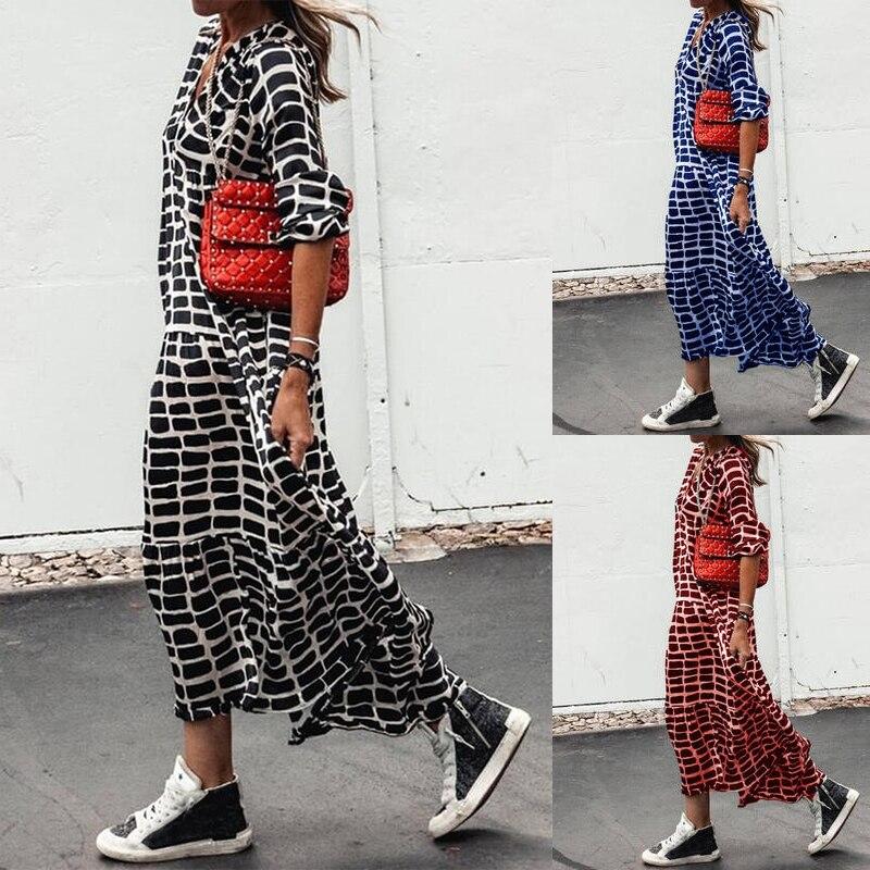 Elegant Holidays Casual Boho Dress Women Print Loose Dresses V Neck A-Line Long Sleeve Maxi Dress Female Vestido De Mujer