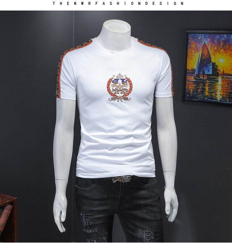 New mens t shirt Mercerized cotton t-shirts embroidery mens shirt Breathable t-shirt for men style