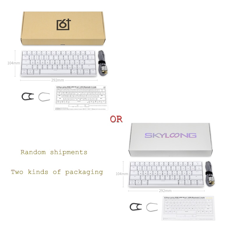 GK61 SK61 61 Key Mechanical Keyboard USB Wired LED Backlit Axis Gaming Mechanical Keyboard Gateron Optical Switches For Desktop